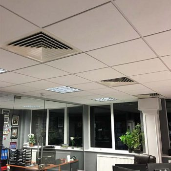 Multiple Air Conditioning Units on the Ceiling in an Office